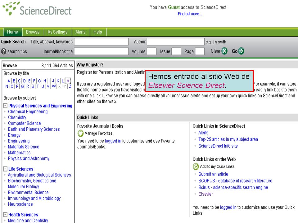 Publishers websites Hemos entrado al sitio Web de Elsevier Science Direct.