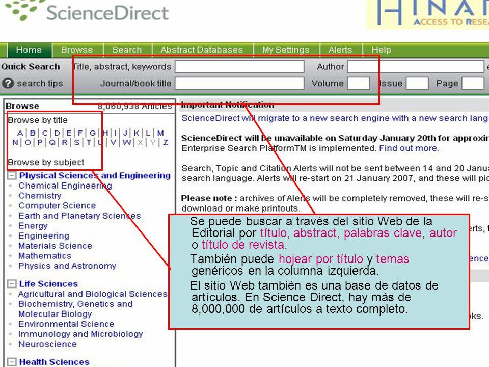 Searching – Science Direct Se puede buscar a través del sitio Web de la Editorial por título, abstract, palabras clave, autor o título de revista. Tam