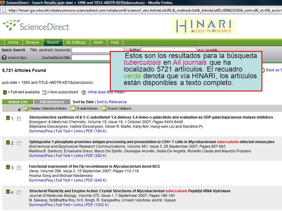 Science Direct 3 Estos son los resultados para la búsqueda tuberculosis en All journals que ha localizado 5721 artiículos. El recuadro verde denota qu