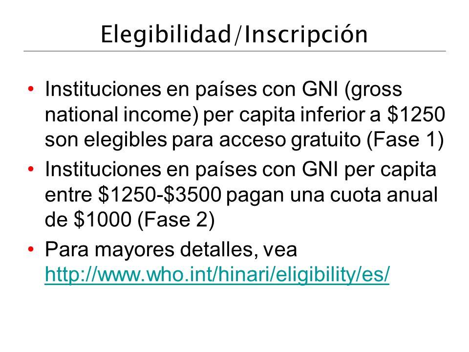 Elegibilidad/Inscripción Instituciones en países con GNI (gross national income) per capita inferior a $1250 son elegibles para acceso gratuito (Fase