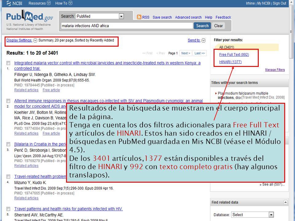 Resultados de la búsqueda se muestran en el cuerpo principal de la página. Tenga en cuenta los dos filtros adicionales para Free Full Text y artículos