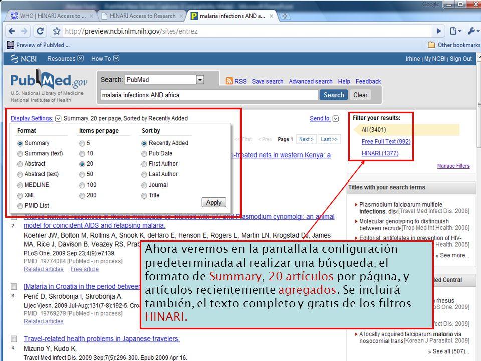 Ahora veremos en la pantalla la configuración predeterminada al realizar una búsqueda; el formato de Summary, 20 artículos por página, y artículos rec