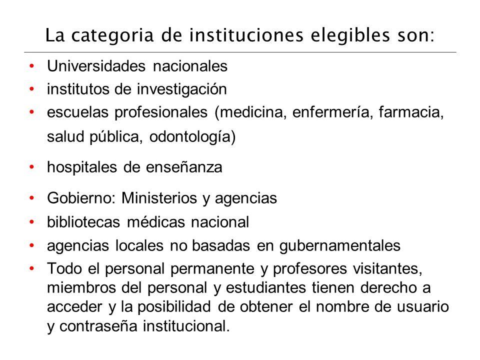 La categoria de instituciones elegibles son: Universidades nacionales institutos de investigación escuelas profesionales (medicina, enfermería, farmac