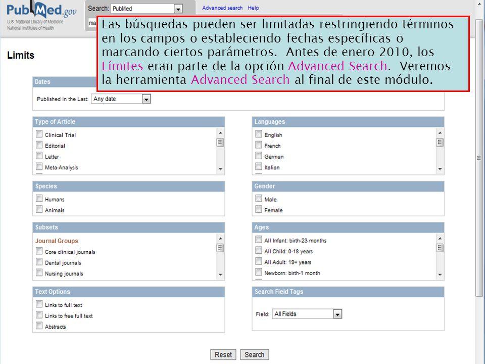 Las búsquedas pueden ser limitadas restringiendo términos en los campos o estableciendo fechas específicas o marcando ciertos parámetros. Antes de ene