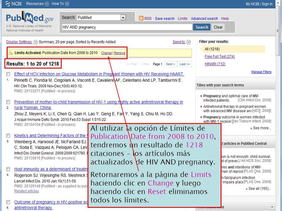 Al utilizar la opción de Límites de Publication Date from 2008 to 2010, tendremos un resultado de 1218 citaciones – los artículos más actualizados de
