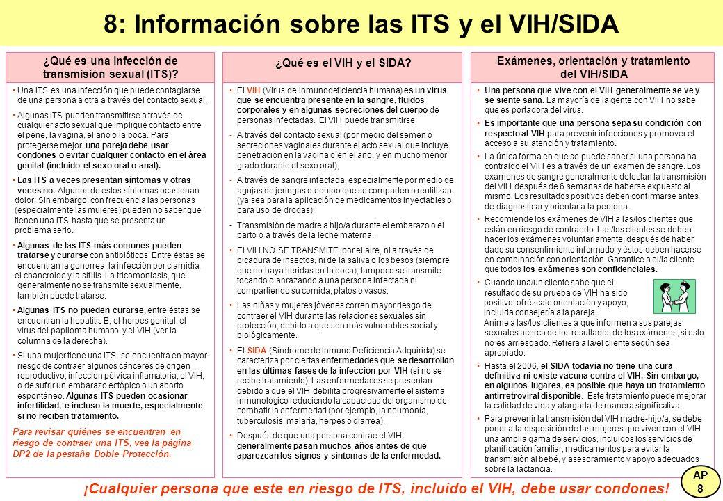 8: Información sobre las ITS y el VIH/SIDA Una ITS es una infección que puede contagiarse de una persona a otra a través del contacto sexual. Algunas