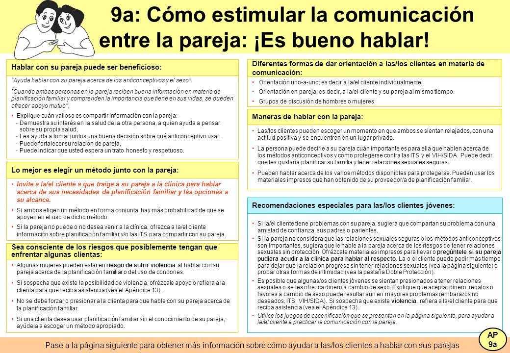 9a: Cómo estimular la comunicación entre la pareja: ¡Es bueno hablar! Si la/el cliente tiene problemas con su pareja, sugiera que compartan su problem