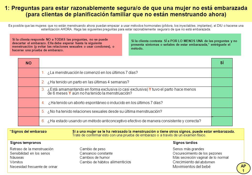 1: Preguntas para estar razonablemente segura/o de que una mujer no está embarazada (para clientas de planificación familiar que no están menstruando