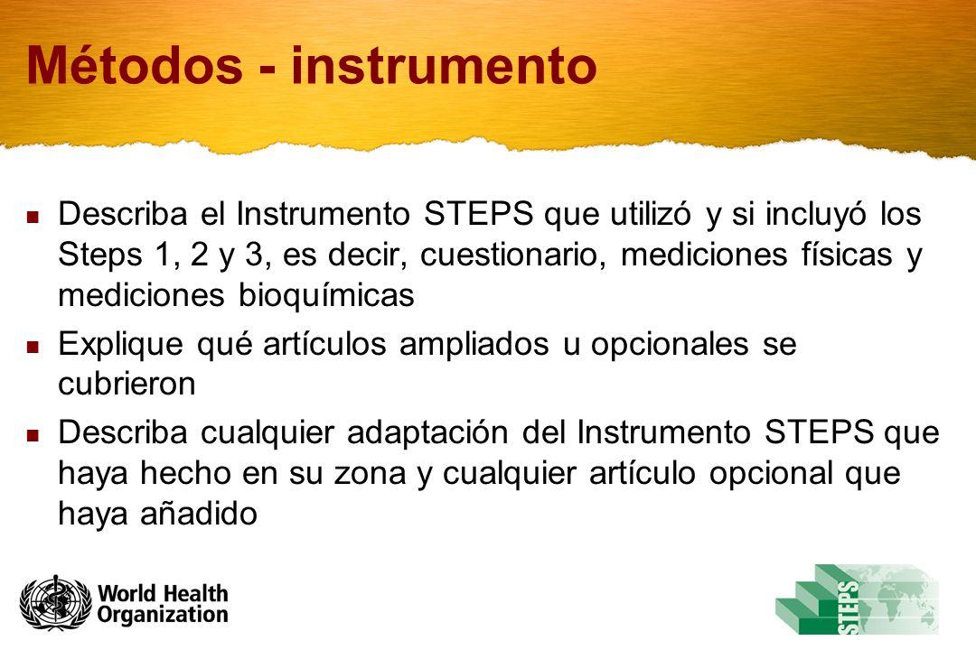 Métodos - instrumento Describa el Instrumento STEPS que utilizó y si incluyó los Steps 1, 2 y 3, es decir, cuestionario, mediciones físicas y mediciones bioquímicas Explique qué artículos ampliados u opcionales se cubrieron Describa cualquier adaptación del Instrumento STEPS que haya hecho en su zona y cualquier artículo opcional que haya añadido
