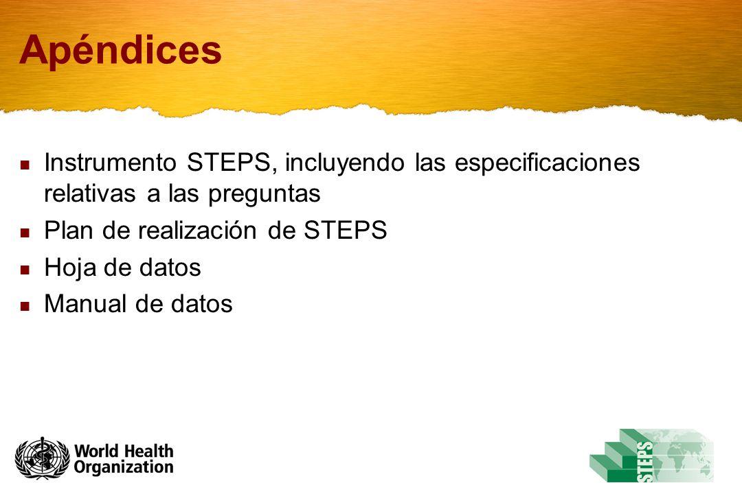 Apéndices Instrumento STEPS, incluyendo las especificaciones relativas a las preguntas Plan de realización de STEPS Hoja de datos Manual de datos