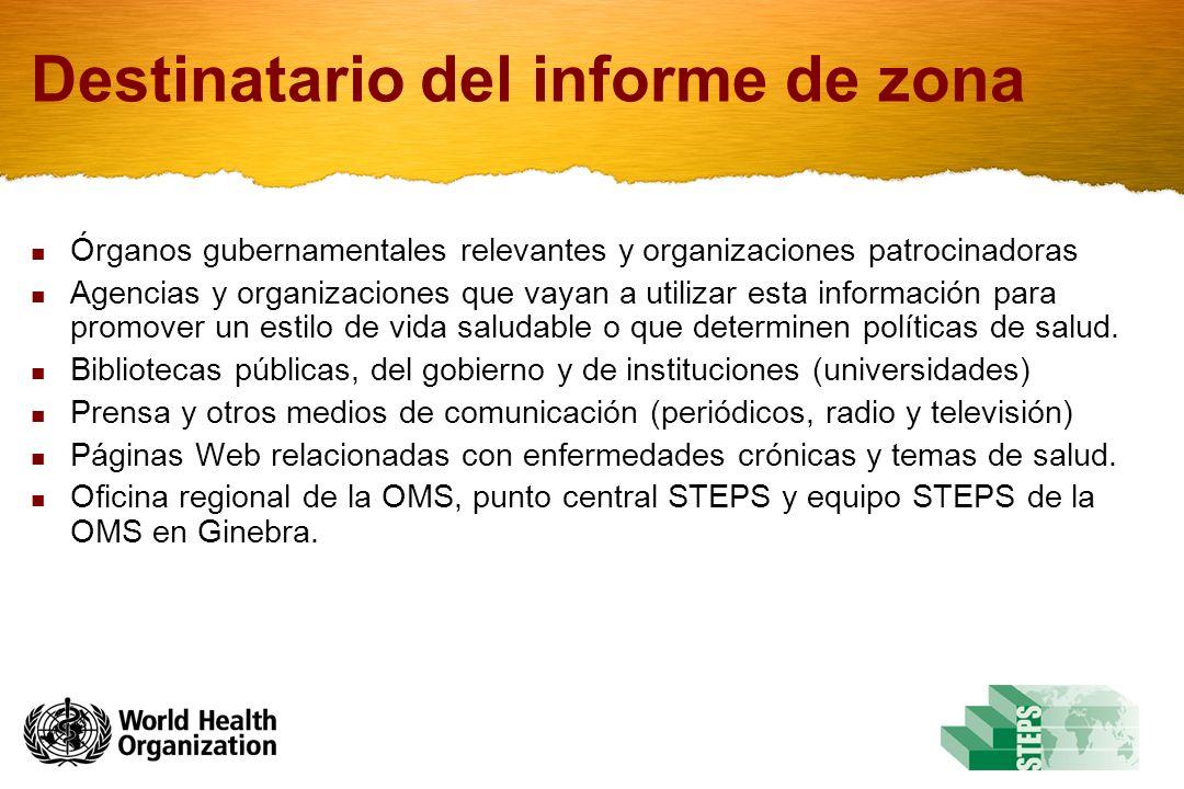 Destinatario del informe de zona Órganos gubernamentales relevantes y organizaciones patrocinadoras Agencias y organizaciones que vayan a utilizar esta información para promover un estilo de vida saludable o que determinen políticas de salud.
