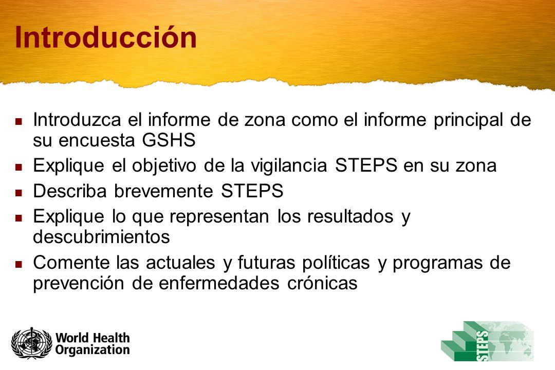 Introducción Introduzca el informe de zona como el informe principal de su encuesta GSHS Explique el objetivo de la vigilancia STEPS en su zona Describa brevemente STEPS Explique lo que representan los resultados y descubrimientos Comente las actuales y futuras políticas y programas de prevención de enfermedades crónicas