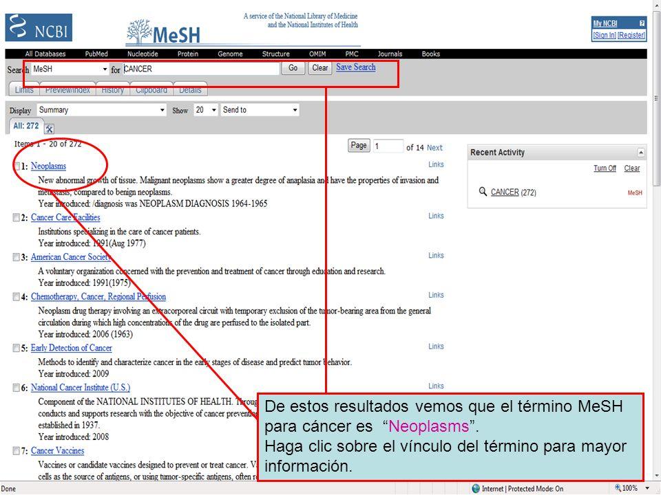MeSH search results De estos resultados vemos que el término MeSH para cáncer es Neoplasms. Haga clic sobre el vínculo del término para mayor informac