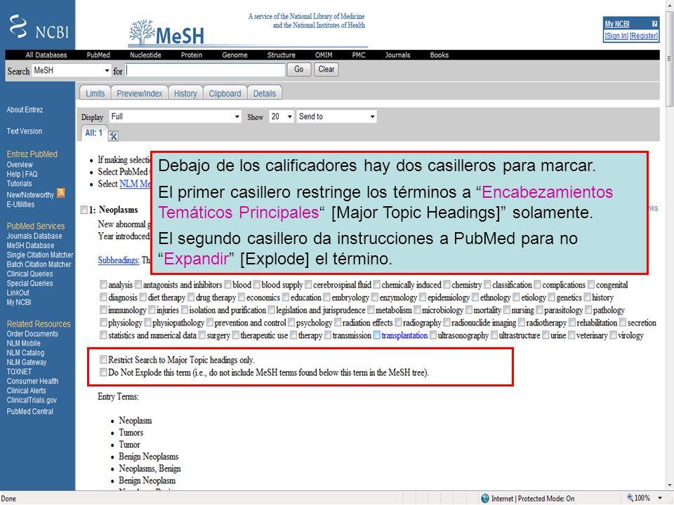 Major MeSH and exploding a term Debajo de los calificadores hay dos casilleros para marcar. El primer casillero restringe los términos a Encabezamient
