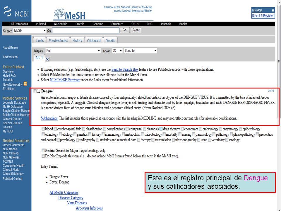 Dengue 3 Este es el registro principal de Dengue y sus calificadores asociados.