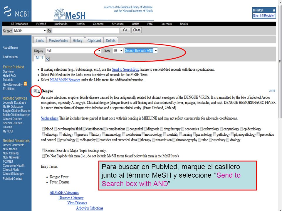 Dengue 4 Para buscar en PubMed, marque el casillero junto al término MeSH y seleccione Send to Search box with AND