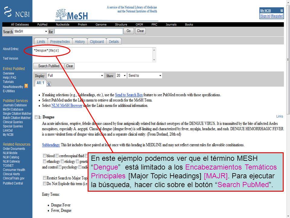 Dengue Major MeSH topic 2 En este ejemplo podemos ver que el término MESHDengue está limitado a los Encabezamientos Temáticos Principales [Major Topic