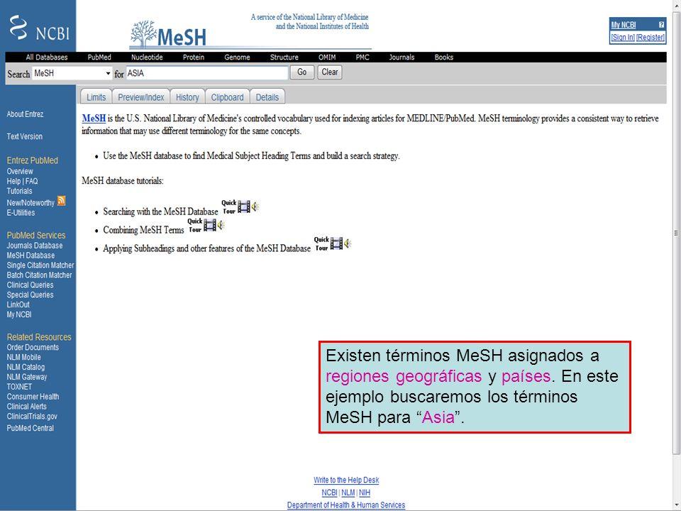 Geographical MeSH terms 1 Existen términos MeSH asignados a regiones geográficas y países. En este ejemplo buscaremos los términos MeSH para Asia.