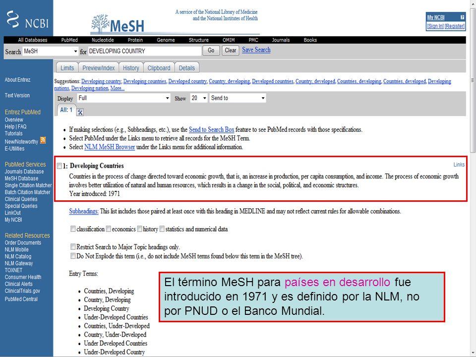 MeSH – Developing countries 2 El término MeSH para países en desarrollo fue introducido en 1971 y es definido por la NLM, no por PNUD o el Banco Mundi