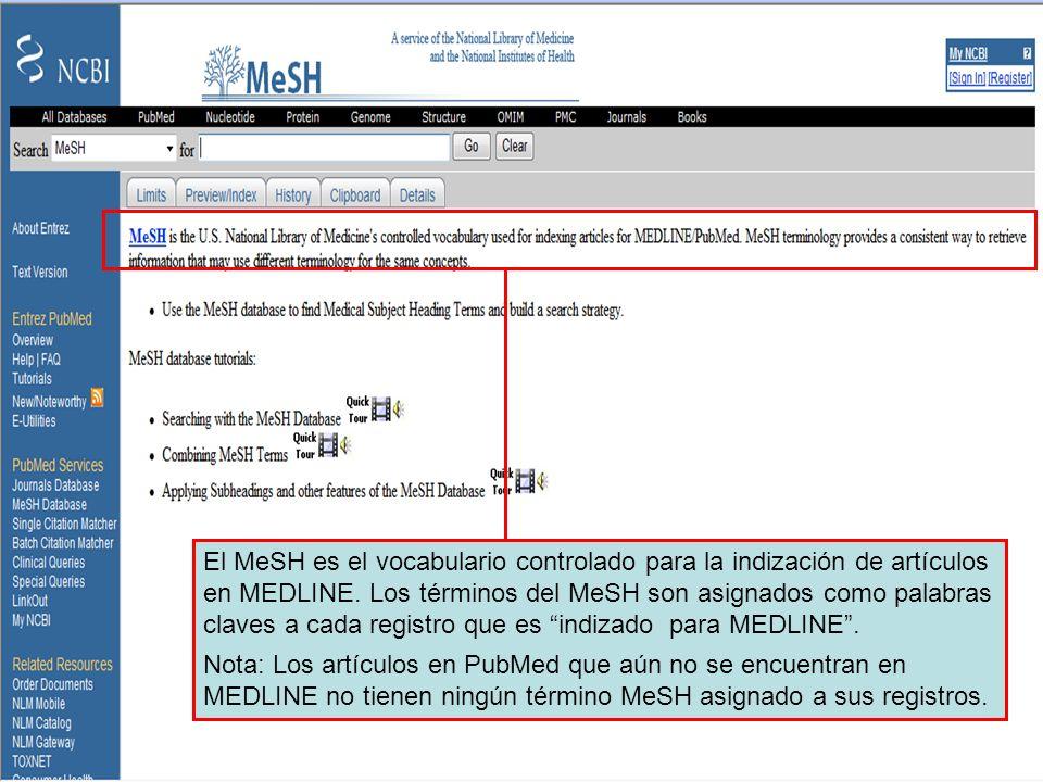 MeSH database El MeSH es el vocabulario controlado para la indización de artículos en MEDLINE. Los términos del MeSH son asignados como palabras clave