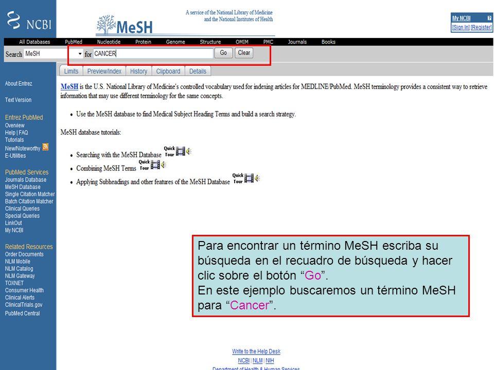 Searching in MeSH Para encontrar un término MeSH escriba su búsqueda en el recuadro de búsqueda y hacer clic sobre el botón Go. En este ejemplo buscar