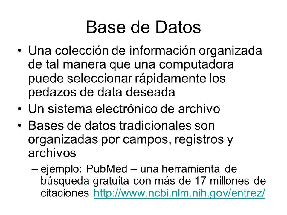 Base de Datos Una colección de información organizada de tal manera que una computadora puede seleccionar rápidamente los pedazos de data deseada Un s