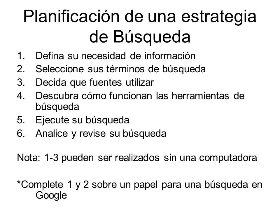 Planificación de una estrategia de Búsqueda 1.Defina su necesidad de información 2.Seleccione sus términos de búsqueda 3.Decida que fuentes utilizar 4