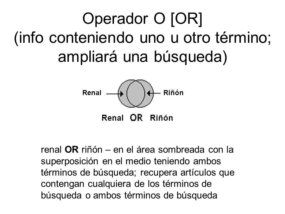 Operador O [OR] (info conteniendo uno u otro término; ampliará una búsqueda) renal OR riñón – en el área sombreada con la superposición en el medio te