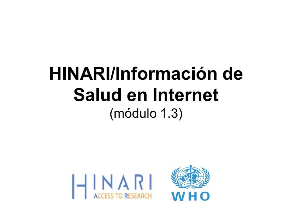 MÓDULO 1.3 Información de Salud en Internet Instrucciones - Esta parte del: curso es una presentación PowerPoint que intenta introducirlo a la Información de Salud en Internet módulo está fuera de línea e intenta ser un recurso de información de referencia.