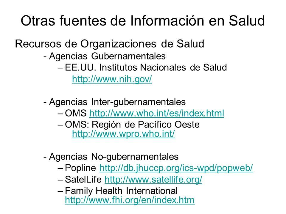 Recursos de Organizaciones de Salud - Agencias Gubernamentales –EE.UU. Institutos Nacionales de Salud http://www.nih.gov/ - Agencias Inter-gubernament