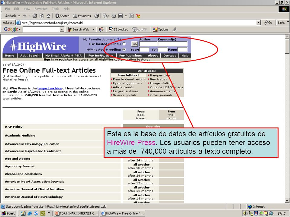 HireWire Press free article database Esta es la base de datos de artículos gratuitos de HireWire Press.