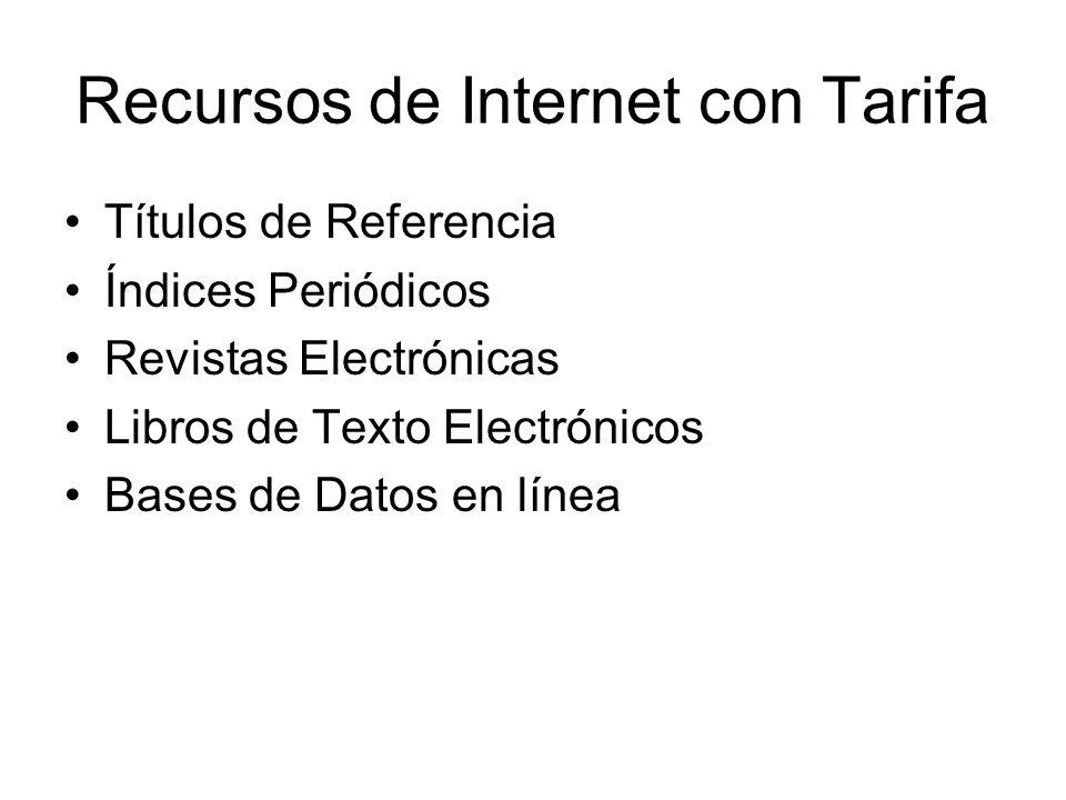Recursos de Internet con Tarifa Títulos de Referencia Índices Periódicos Revistas Electrónicas Libros de Texto Electrónicos Bases de Datos en línea