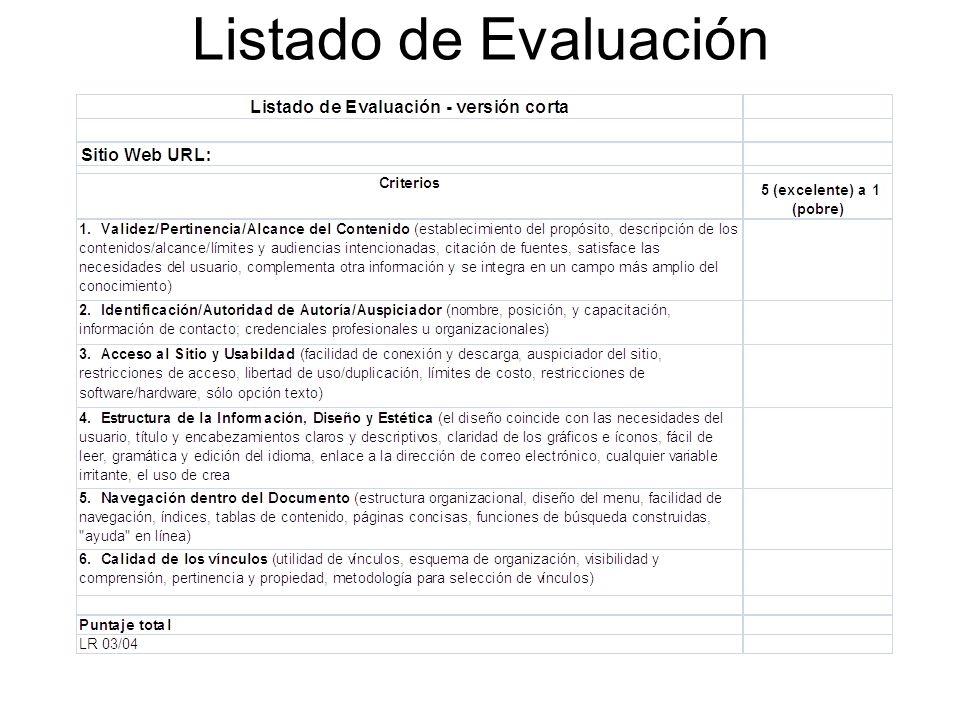 Listado de Evaluación