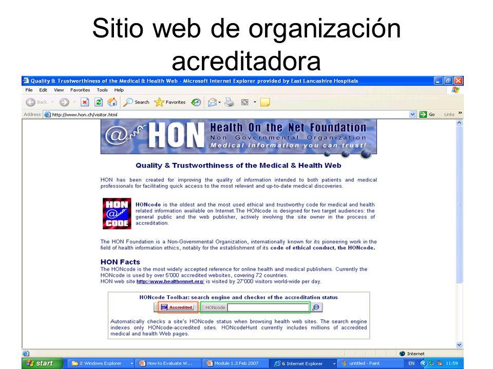 Sitio web de organización acreditadora