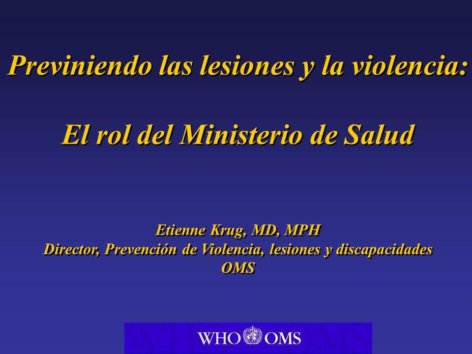Previniendo las lesiones y la violencia: El rol del Ministerio de Salud Etienne Krug, MD, MPH Director, Prevención de Violencia, lesiones y discapacid
