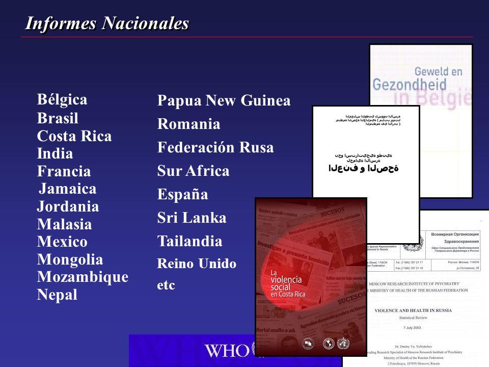 Bélgica Brasil Costa Rica India Francia Jamaica Jordania Malasia Mexico Mongolia Mozambique Nepal Papua New Guinea Romania Federación Rusa Sur Africa