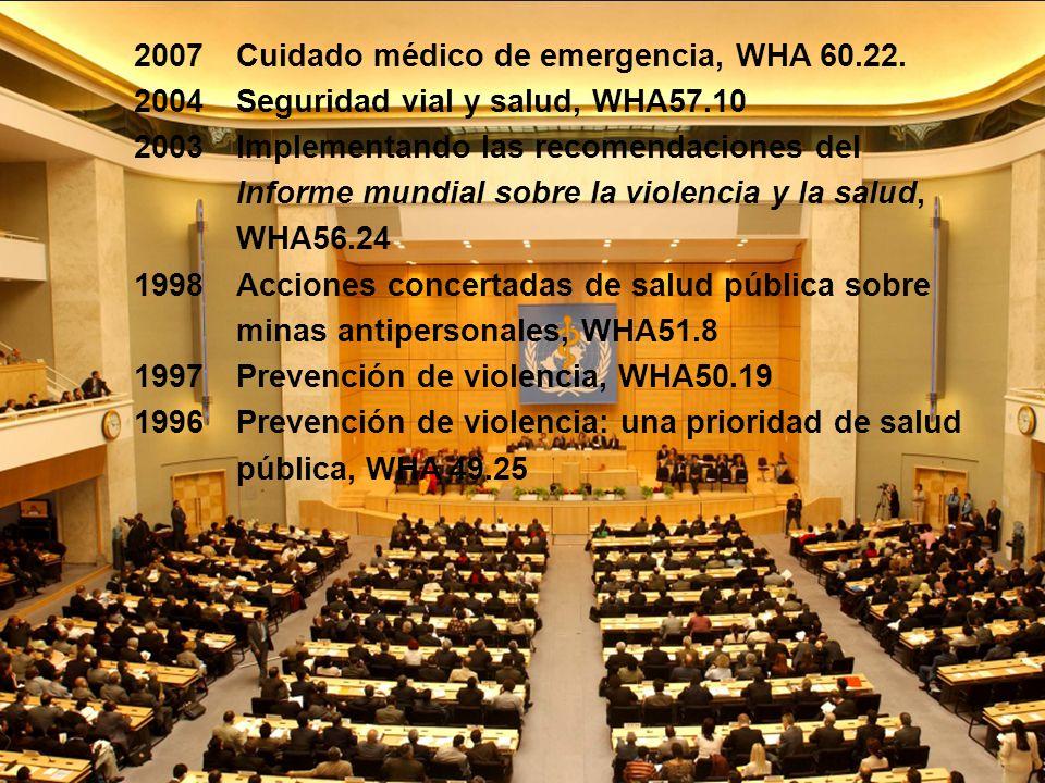 2007 2004 2003 1998 1997 1996 Cuidado médico de emergencia, WHA 60.22. Seguridad vial y salud, WHA57.10 Implementando las recomendaciones del Informe