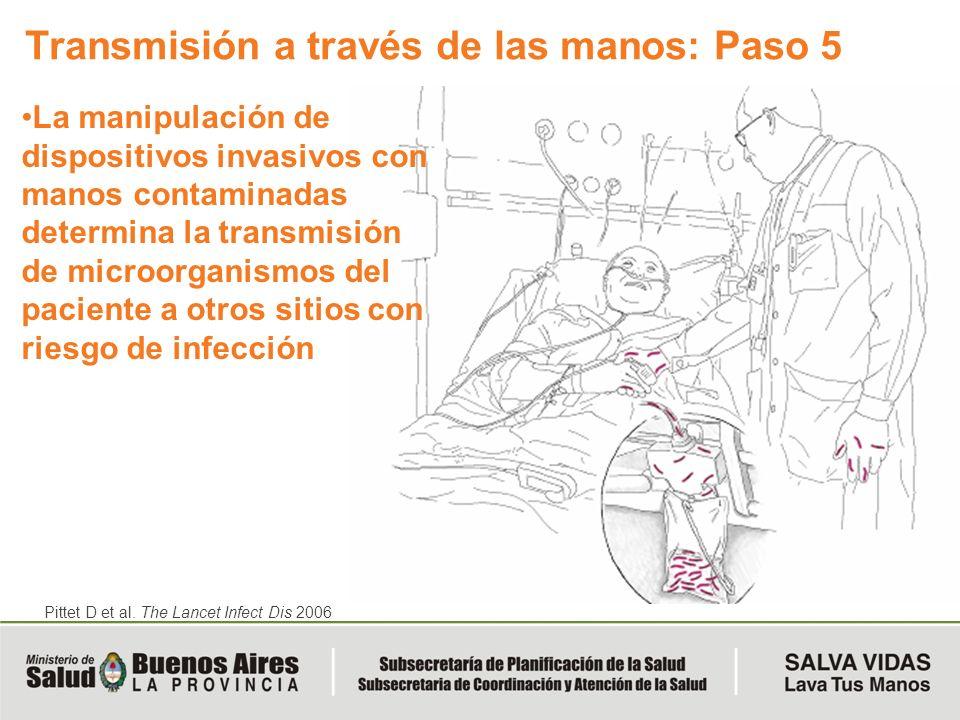 La manipulación de dispositivos invasivos con manos contaminadas determina la transmisión de microorganismos del paciente a otros sitios con riesgo de