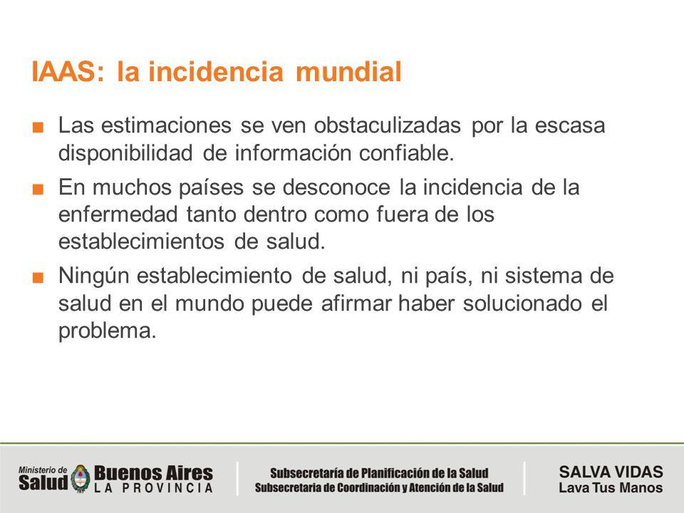 IAAS: la incidencia mundial Las estimaciones se ven obstaculizadas por la escasa disponibilidad de información confiable. En muchos países se desconoc