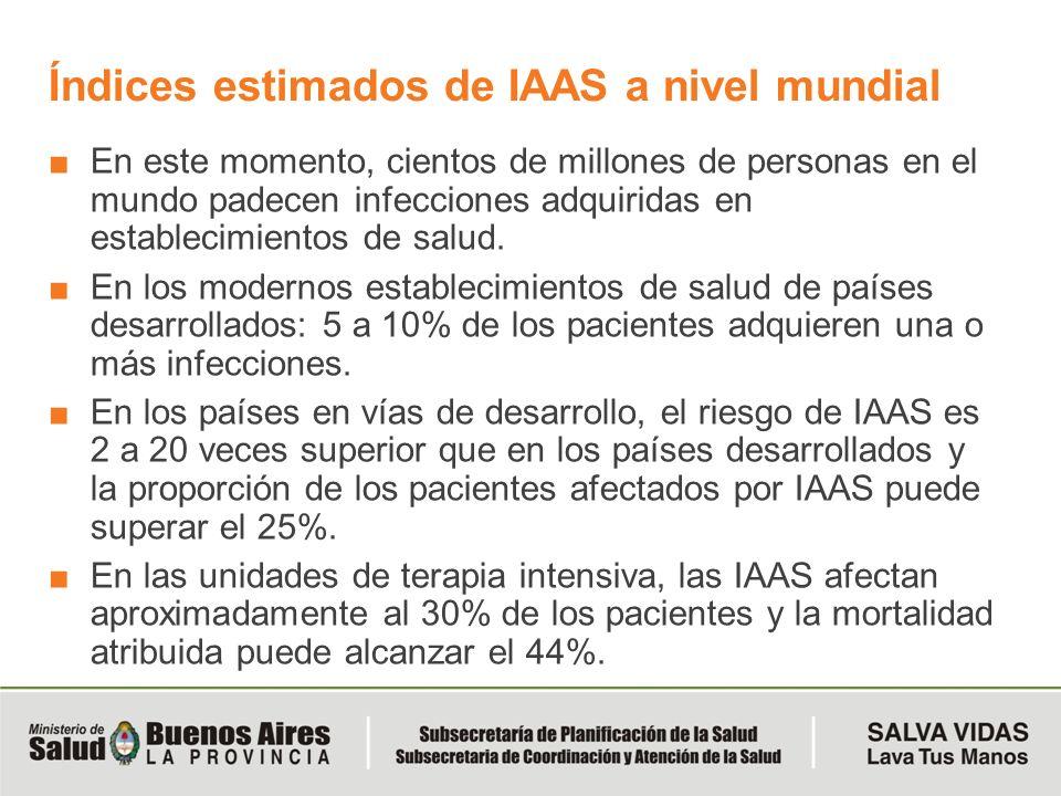 Índices estimados de IAAS a nivel mundial En este momento, cientos de millones de personas en el mundo padecen infecciones adquiridas en establecimien