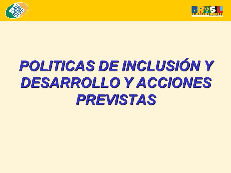 POLITICAS DE INCLUSIÓN Y DESARROLLO Y ACCIONES PREVISTAS