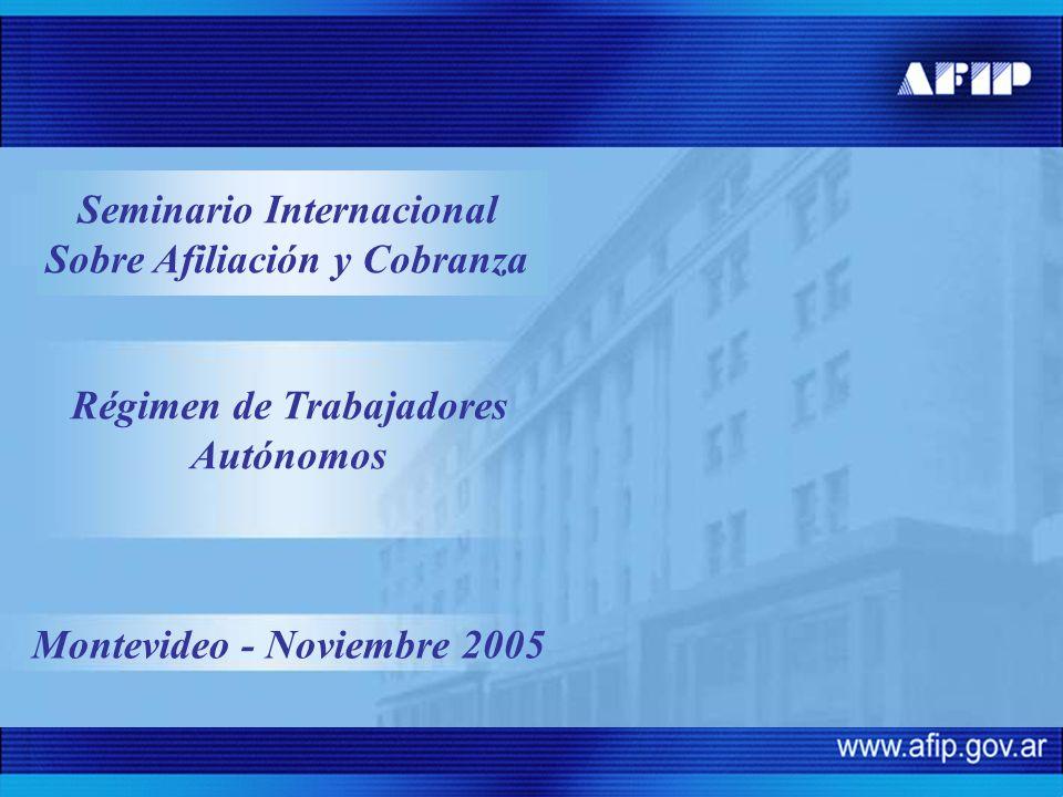 Montevideo - Noviembre 2005 Régimen de Trabajadores Autónomos Seminario Internacional Sobre Afiliación y Cobranza