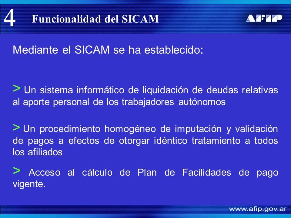 Funcionalidad del SICAM > Acceso al cálculo de Plan de Facilidades de pago vigente.