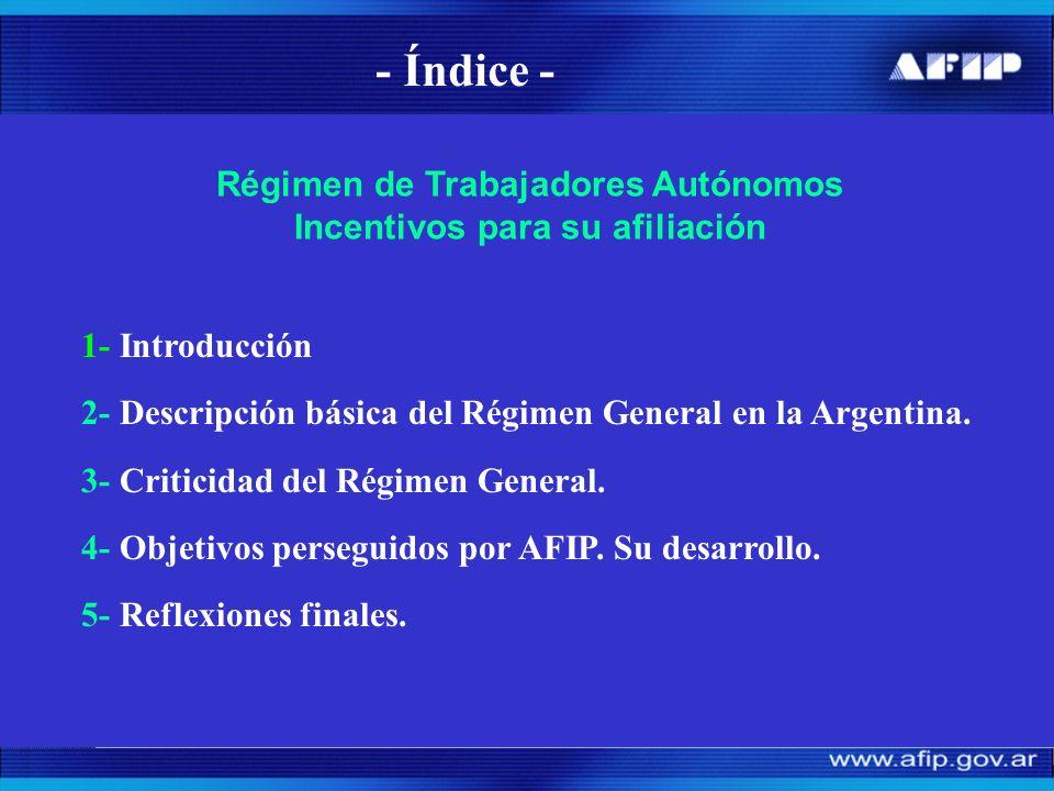 - Índice - 1- Introducción 2- Descripción básica del Régimen General en la Argentina.