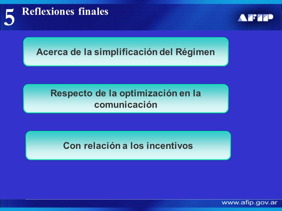 5 Acerca de la simplificación del Régimen Respecto de la optimización en la comunicación Con relación a los incentivos
