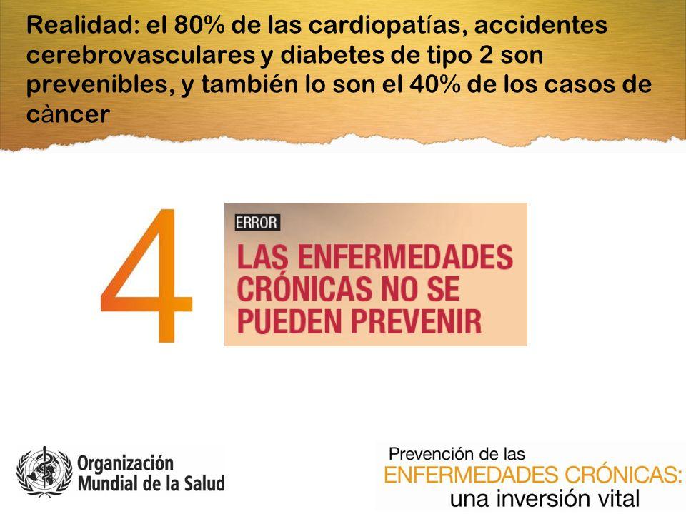 Realidad: el 80% de las cardiopat í as, accidentes cerebrovasculares y diabetes de tipo 2 son prevenibles, y también lo son el 40% de los casos de c à ncer