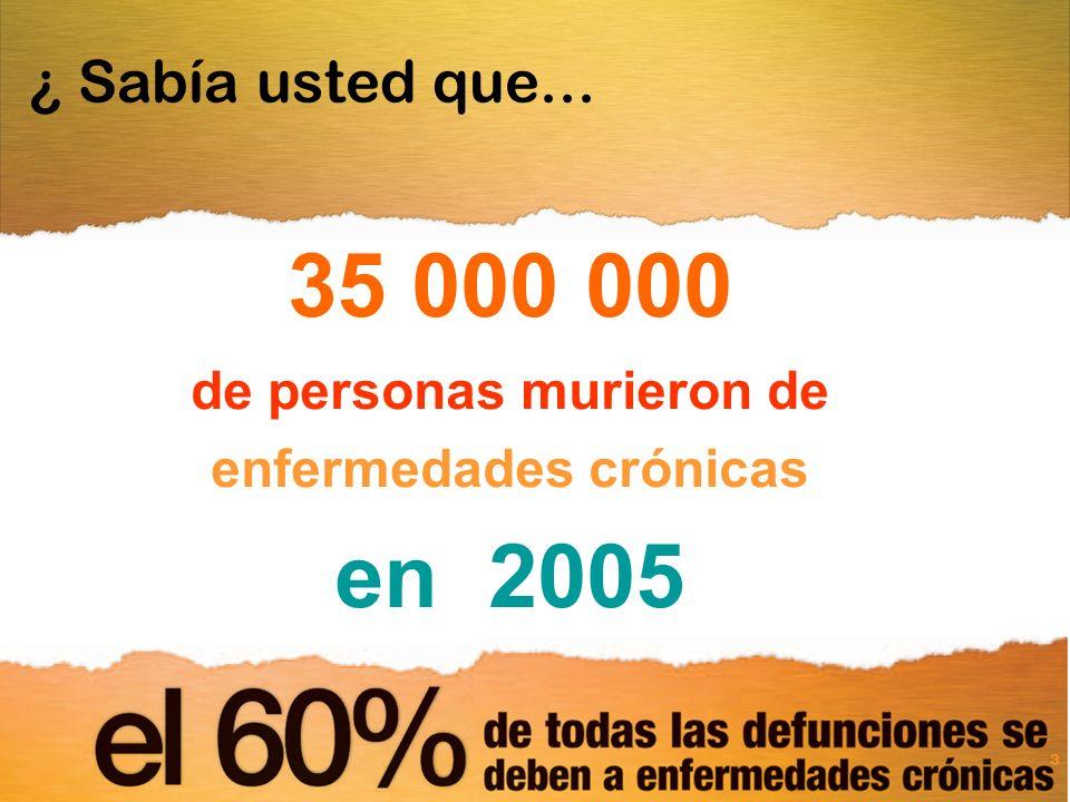 ¿ Sabía usted que... 35 000 000 de personas murieron de enfermedades crónicas en 2005