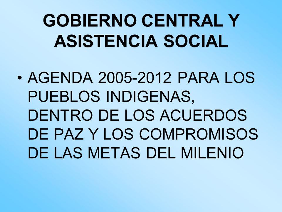 GOBIERNO CENTRAL Y ASISTENCIA SOCIAL AGENDA 2005-2012 PARA LOS PUEBLOS INDIGENAS, DENTRO DE LOS ACUERDOS DE PAZ Y LOS COMPROMISOS DE LAS METAS DEL MIL