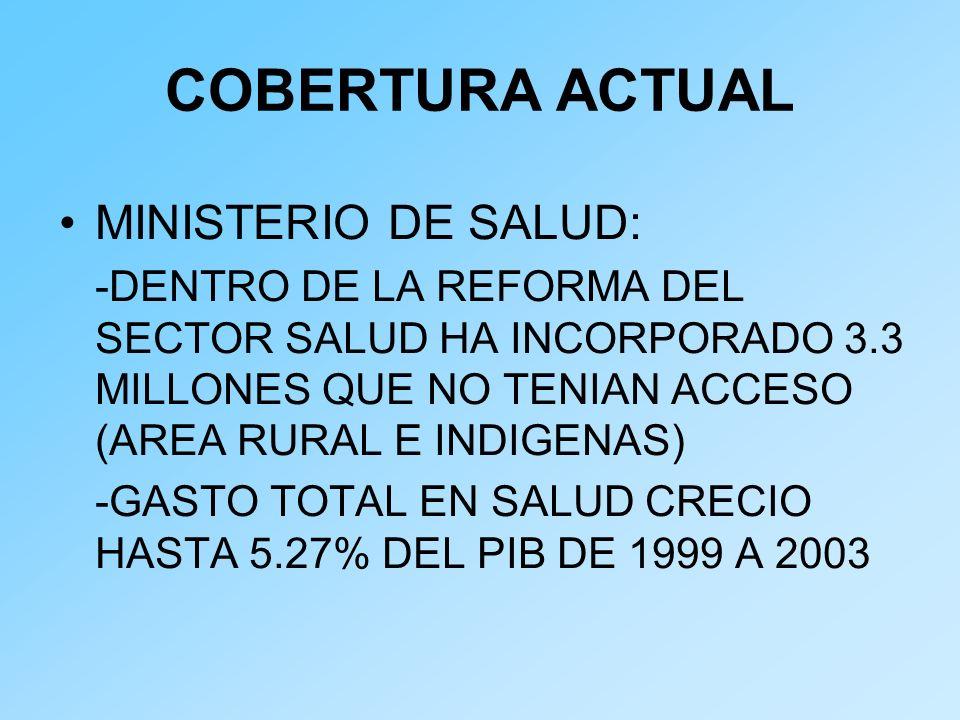 COBERTURA ACTUAL MINISTERIO DE SALUD: -DENTRO DE LA REFORMA DEL SECTOR SALUD HA INCORPORADO 3.3 MILLONES QUE NO TENIAN ACCESO (AREA RURAL E INDIGENAS)