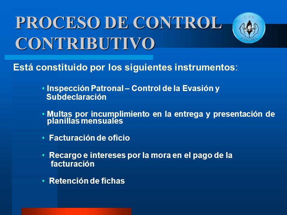 PROCESO DE CONTROL CONTRIBUTIVO Está constituido por los siguientes instrumentos: Inspección Patronal – Control de la Evasión y Subdeclaración Multas